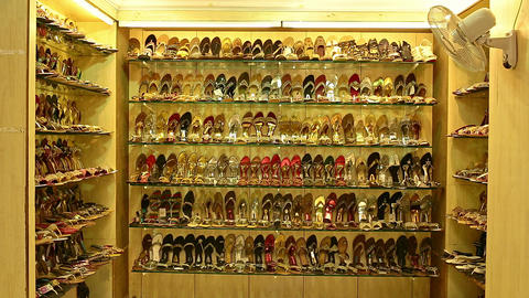 A Shoes and Footwear store in City Center. Bride and Groom Shoes, wedding day, ceremony Live Action