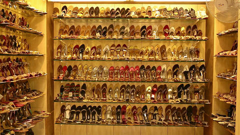 Wedding Shoe showcase with high heels. Elegant bridal shoes. Bridal shopping Live Action