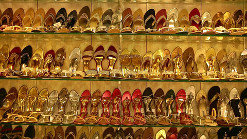 Wedding Shoe showcase with high heels. Classic women's shoes beige. Bright shoes with a heel on the Live Action