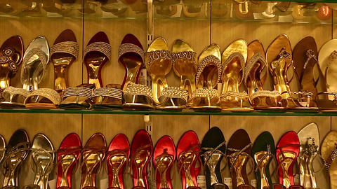 Wedding Shoe showcase with high heels. Classic women's shoes beige. Bright shoes with a heel on the Footage