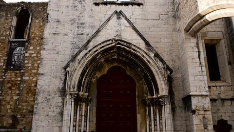 facade of the Convento do Carmo Lisbon Footage