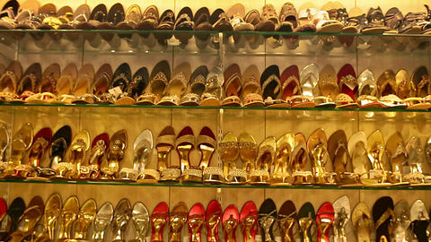 Classic women's shoes in different colors. Black, red, yellow, pink, gold shoes with a heel on the Live Action