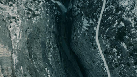Aerial view of a gorge and a dam Live Action