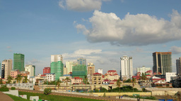 TIMELAPSE Skyline as seen from olympic stadium,Phnom Penh,Cambodia Footage