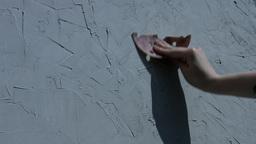 4k Shoot Of A Hand Polishing A Wall stock footage