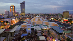 TIMELAPSE Central market with traffic day to night,Phnom Penh,Cambodia Footage