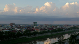 TIMELAPSE Sunset clouds over city,Battambang,Cambodia Footage