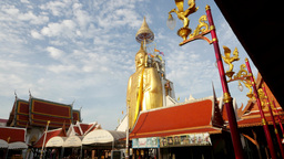 TIMELAPSE Giant standing golden Buddha in temple,Bangkok,Thailand Footage