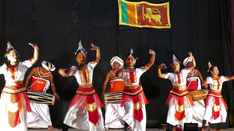 Sri Lankan dancers in traditional costumes perform Footage