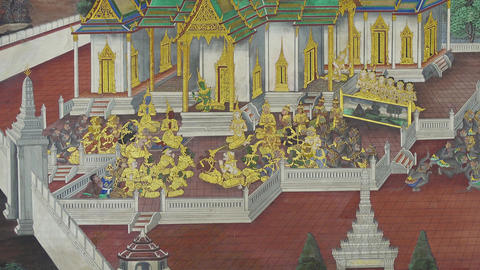 Thai mural paintings at Wat Phra Kaew in Bangkok Footage