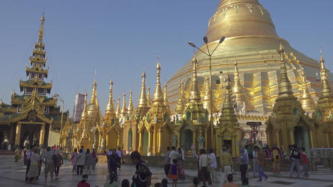 Shwedagon Paya pagoda - famous sacred place Live Action
