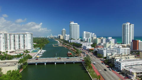 Aerial view of Miami South Beach along the river