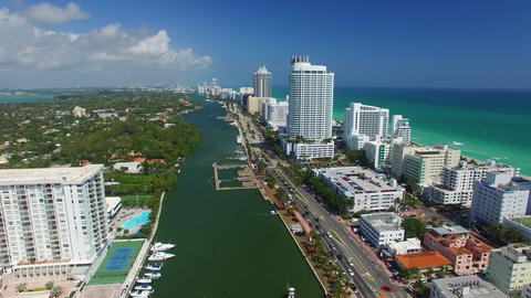 Miami Beach on a sunny day – Going down, aerial view Footage