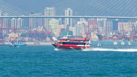 High-speed ferry boat in harbor of Hong Kong Live Action
