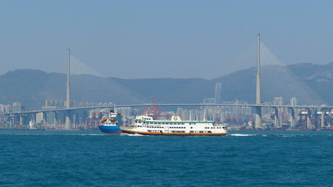 Ferry boats in Hong Kong harbor Footage