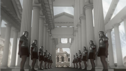 Roman Soldiers Standing in Line Inside a Palace Footage