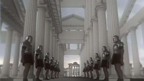 Roman Armed Guards Standing inside a Temple Footage
