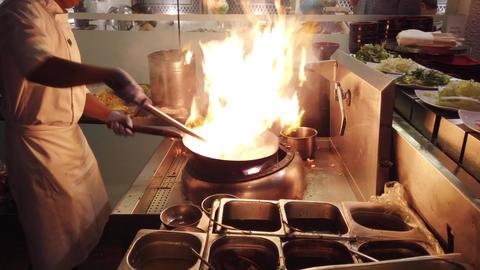 Haberna, Sri Lanka- 2019-03-22 - Chef Prepares Flambe Stir Fry Footage