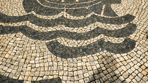 view on typical Lisbon floor, ornaments typical of this city Footage