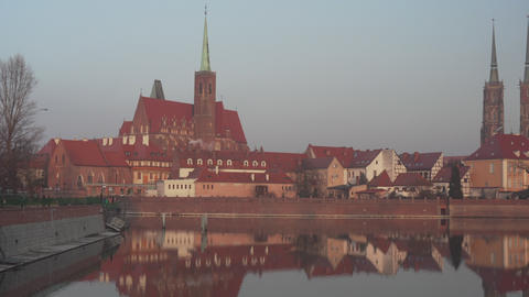 Panoramic view on the old architecture on Cathedral Island in Poland Footage