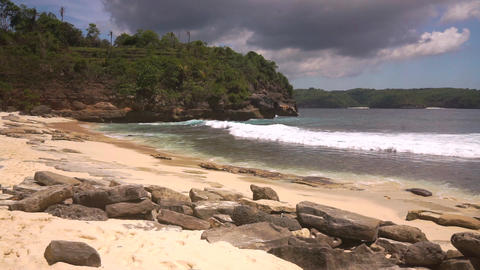 Paradise beach without people in secret lagoon Footage
