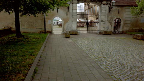 Renaissance Baroque palace in medieval European town, Castle in Slovenska Footage