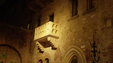 Famous Casa di Giulietta or Juliet's house balcony in Verona, Italy Footage