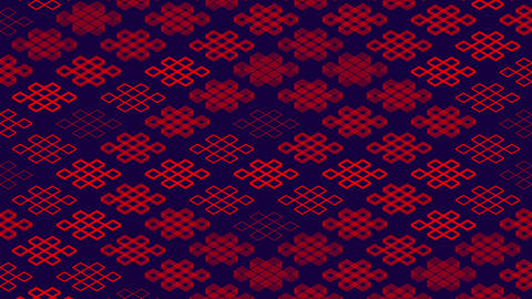 Chinese pattern abstract line 3D virtual isometric lighting moving, Vintage mix modern technology Animation