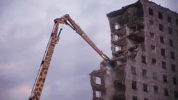 Demolition Excavator Arm Breaking Building Wall Live Action