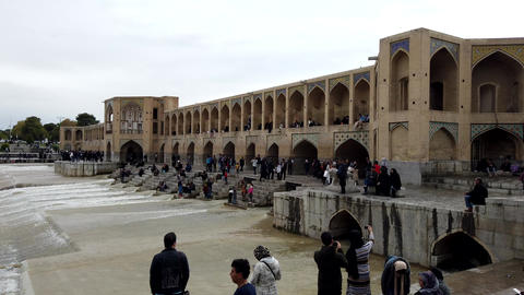 Isfahan, Iran - 2019-04-12 - Si-o-se-pol Bridge is Most Famous in Town 3 - Footage