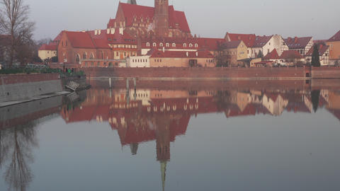 Ostrow Tumski historical architecture reflected in water Footage
