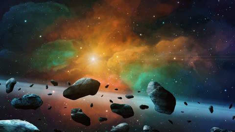 Space scene. Asteroid fly with colorful nebula and stars. Elements furnished by NASA. 3D rendering Animation