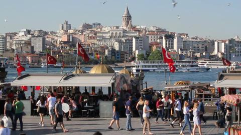 Istanbul landscape, Eminonu and Halic seaside, Galata Bridge view. Populer touristic destination Live Action
