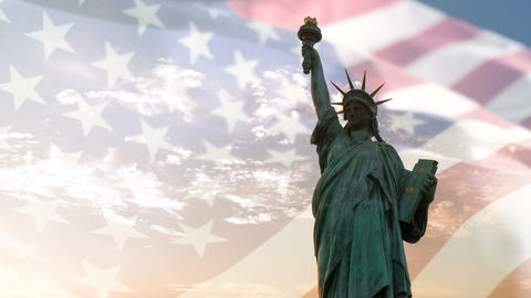 Statue of liberty and American flag waving with copyspace, double exposure Footage