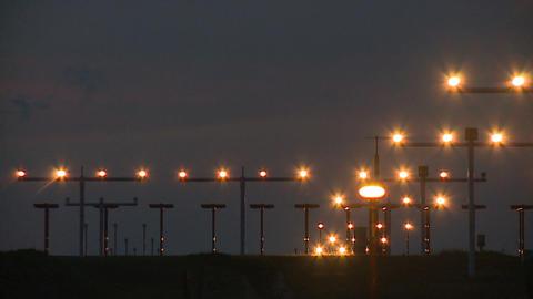 Flight Touchdown at Night Footage