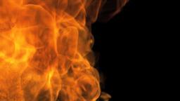 Hot Fire Burning Black Background Footage