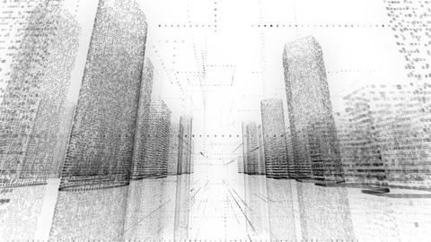 business city wireframe 3d animation binary bright building architecture cable Footage