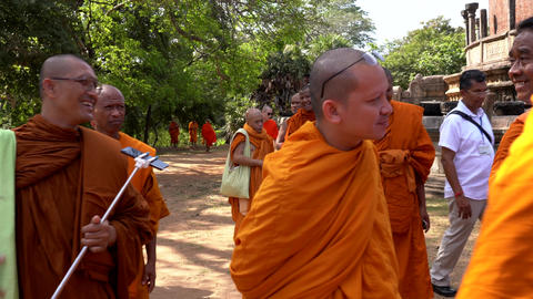 Polonnaruwa, Sri Lanka - 2019-03-23 - Monks On Tour 5 - Walking To Next Location Live Action