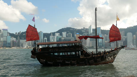 Tourists on sailing ship in Hong Kong, view from Victoria Harbor Footage