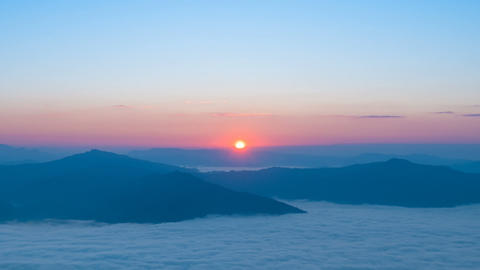 Amazing sunrise over the mountain and fog in the morning Footage