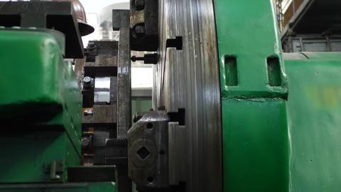Processing Steel Shaft on Lathe Machine on Heavy Plant Footage