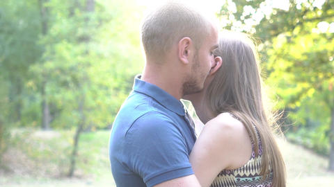 Romance Of A Young Couple In Love Park Sunset Slow Motion Lifestyle Live Action