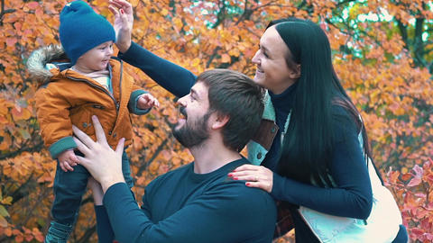 Slow Motion Happy Family Playing With Autumn Leaves, Happy Child And Parents Live Action