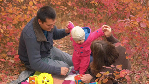 Slow Motion Slow Motion Happy Family Enjoying Autumn Day In The Park Footage