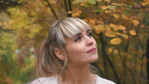 Slow Motion Woman Having Fun In Autumn Park Footage