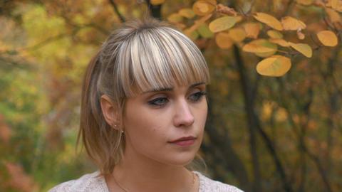Slow Motion Young Girl In Autumn Park Sad Unhappy Face Portrait Live Action