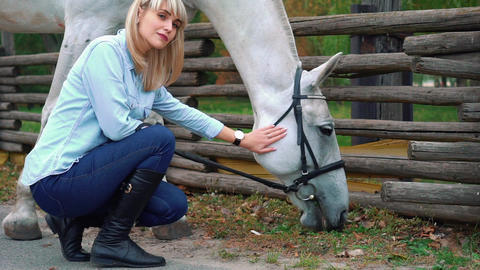 Slow Motion Woman Pets White Horse Live Action