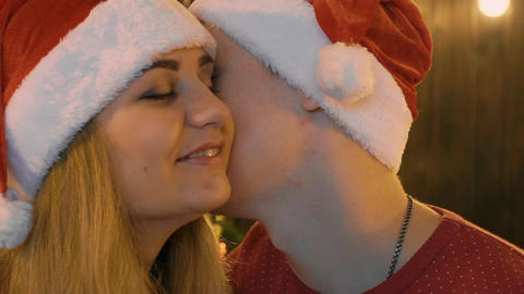 Slow Motion Romantic Relationship Of A Young Married Couple. Christmas Footage