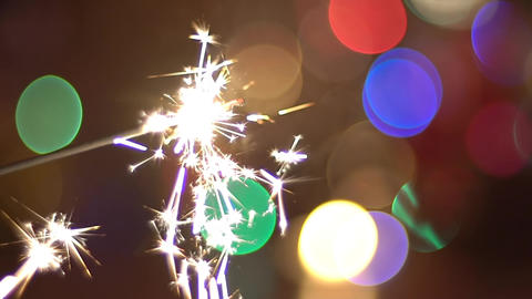 Bengal Fire, Sparkler And Colorful Bokeh Christmas, New Year Background Slow Mo Footage