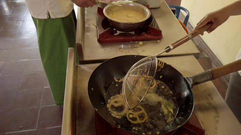 Deep Fry Tempura on Commercial Stove - Add Ingredients Live Action